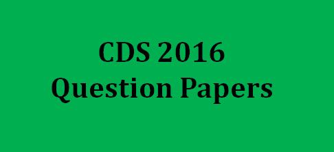 UPSC CDS Question Paper 2016